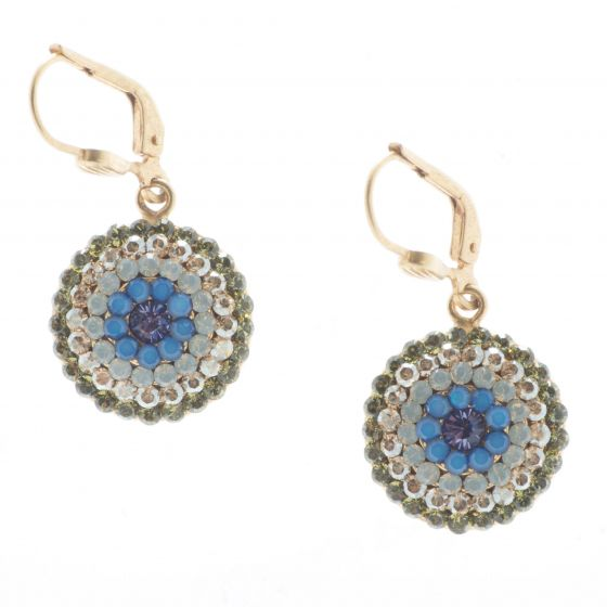 Catherine Popesco Gold Round Pave Crystal Earrings - Sky Blue & Olivine