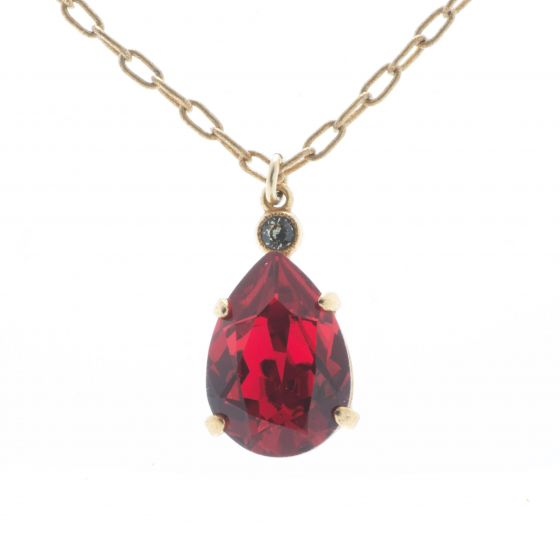 Catherine Popesco Scarlet Red Teardrop Crystal Pendant Necklace