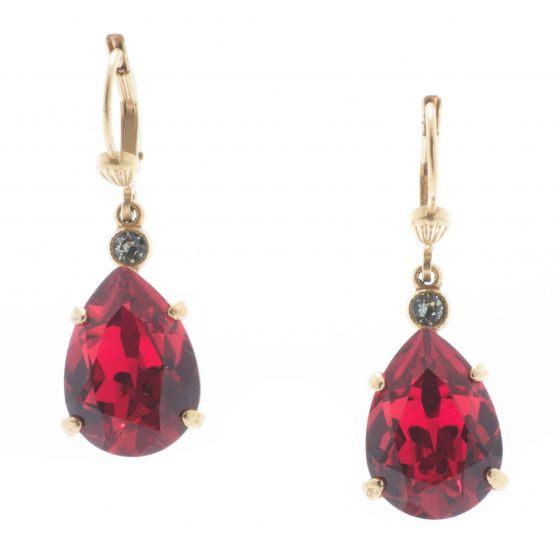 Catherine Popesco Scarlet Red Teardrop Crystal Earrings