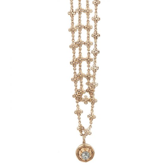 Catherine Popesco Long Chain Silver or Gold Necklace with Crystal Drop - 40""