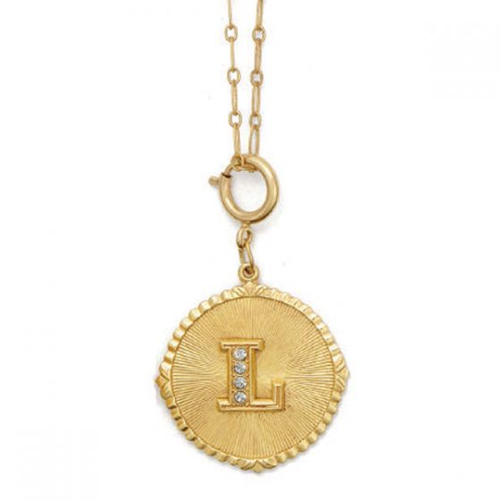 Catherine Popesco Initial Necklace - Gold with Crystal Monogram