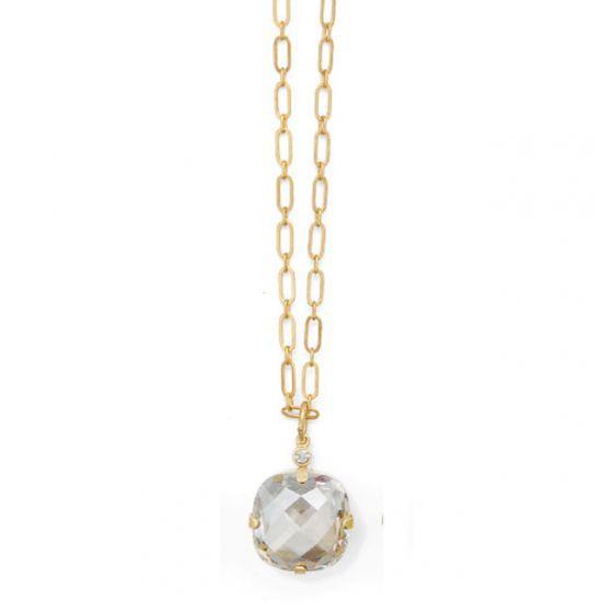 Catherine Popesco Extra Large Stone Crystal Necklace - Shade and Gold