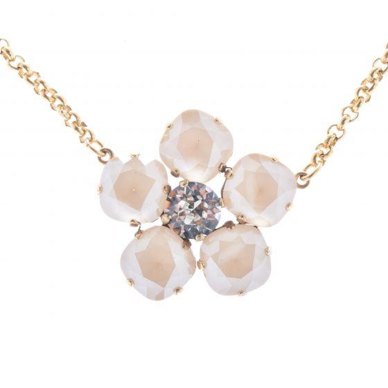 Catherine Popesco Large Stone Crystal Flower Necklace - Ivory Cream