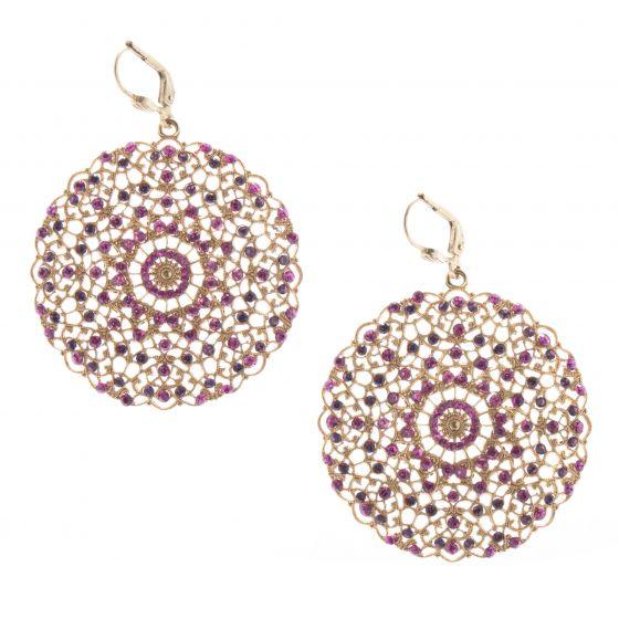 Catherine Popesco Lacy Medallion Filigree Fuchsia Pink Crystal Earrings