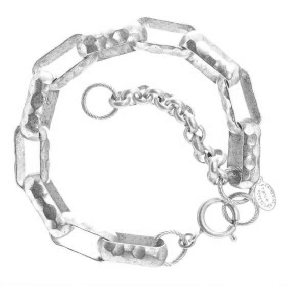 Catherine Popesco Hammered Large Link Bracelet in Silver