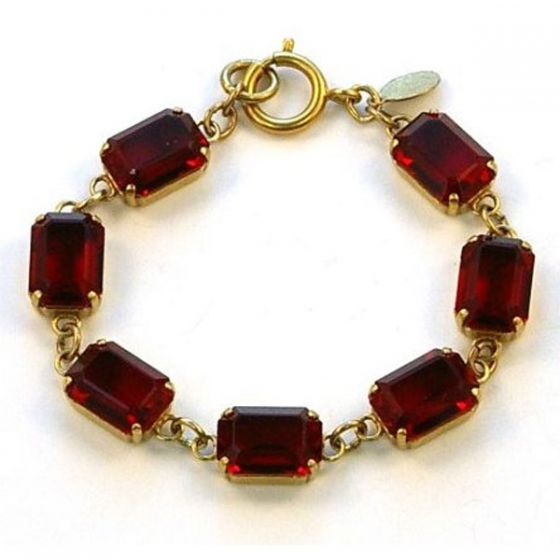 Catherine Popesco Pillow Cut Crystal Bracelet - Red and Gold