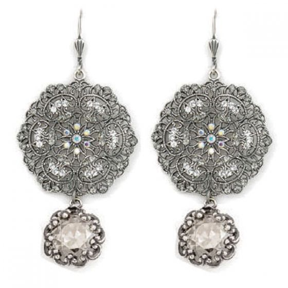 Catherine Popesco Lacy Crystal and Silver Round Earrings with Drop