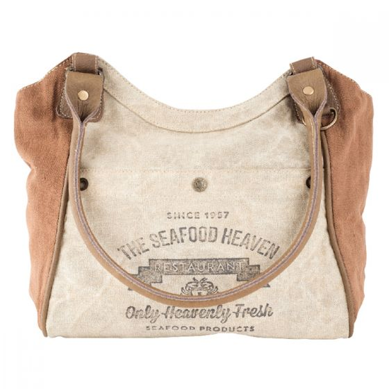 Seafood Heaven Large Hobo Bag Leather and Canvas Tote by Clea Ray