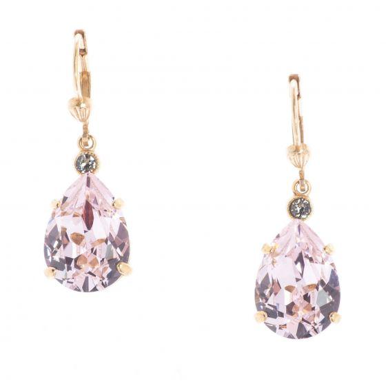 Catherine Popesco Petal Pink Teardrop Crystal Earrings