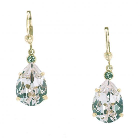 Catherine Popesco Teardrop Crystal Earrings - Clear & Gold