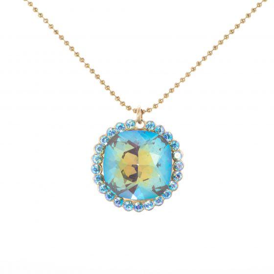 Catherine Popesco Ultra Coco & Aqua AB Crystal Pendant Necklace