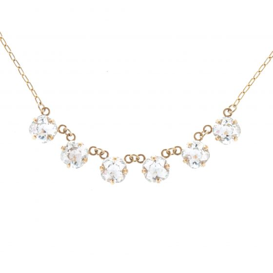 Catherine Popesco Petite Six Stone Crystal Necklace - Clear