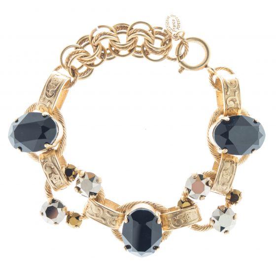 Catherine Popesco Oval Stone Ornate Bracelet with Crystals - Jet Dorado