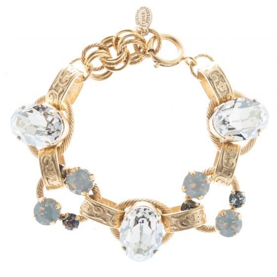Catherine Popesco Oval Stone Ornate Bracelet with Crystals - Shade Opal
