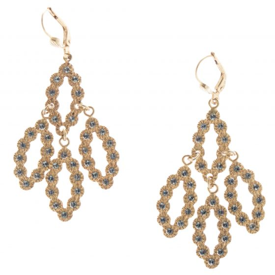 Catherine Popesco Cat Eye Chandelier Earrings - Black Diamond & Gold