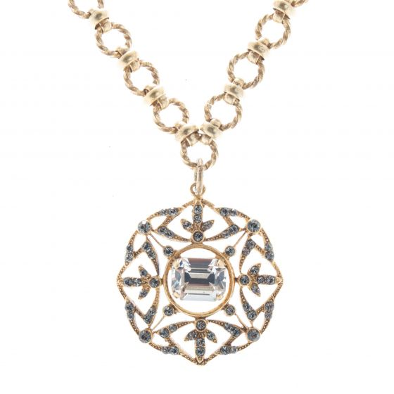 Catherine Popesco Crystal Medallion Pendant Necklace with Fancy Chain