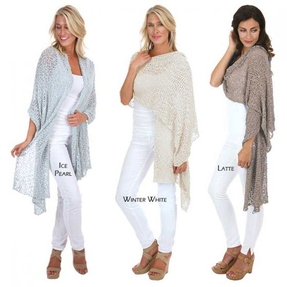 Lost River Clothing Popcorn Knit Shawl/Wrap/Scarf - Assorted Colors