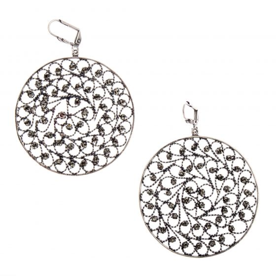 Large Round Silver & Black Diamond Crystal Filigree Earrings