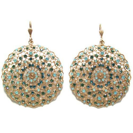 Catherine Popesco Large Lacy Pacific Opal and Gold Round Earrings