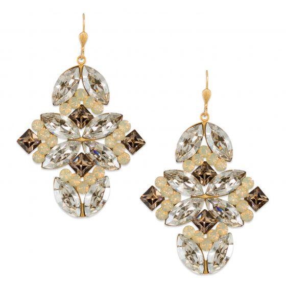 Catherine Popesco Large Multi Shape Quatrefoil Crystal Earrings