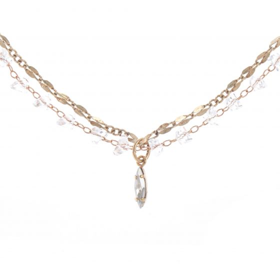 Catherine Popesco Beaded Double Chain Crystal Necklace with Marquise