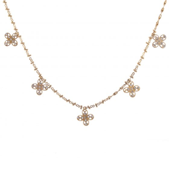 Catherine Popesco Multi Petal Crystal Flower Charm Necklace