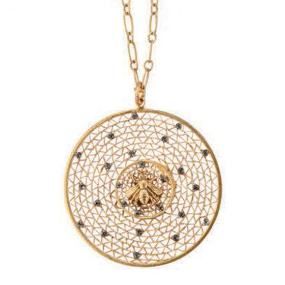 Catherine Popesco Large Round Crystal Filigree Mesh Bee Pendant Necklace