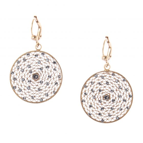 Catherine Popesco Medium Round Filigree Mesh Crystal Earrings
