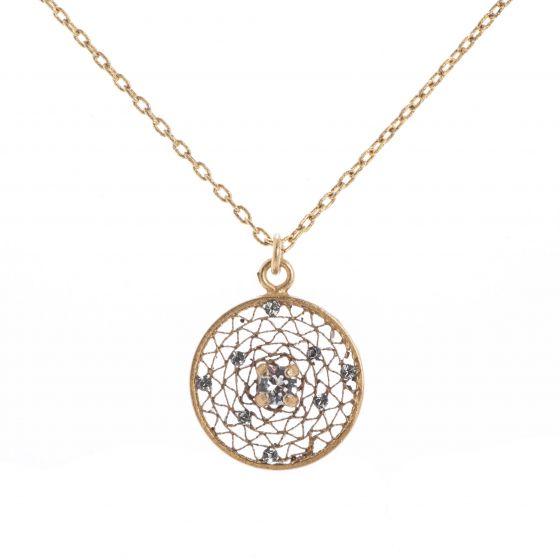 Catherine Popesco Small Round Filigree Mesh Crystal Pendant Necklace