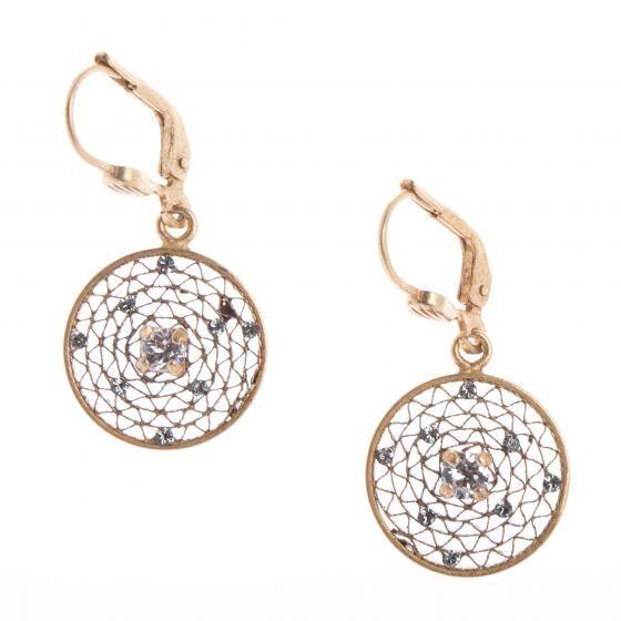 Catherine Popesco Small Round Filigree Mesh Crystal Earrings