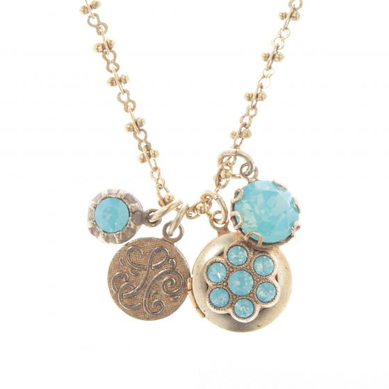 Catherine Popesco Pacific Opal Crystal Charm Locket Necklace