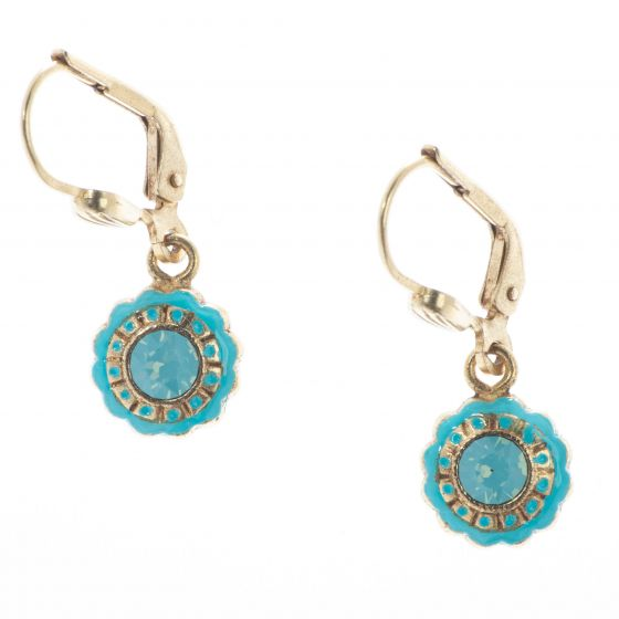 Catherine Popesco Small Round French Enamel Crystal Earrings