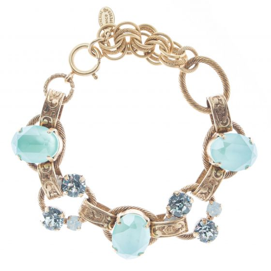 Catherine Popesco Oval Stone Ornate Bracelet with Crystals - Mint Green