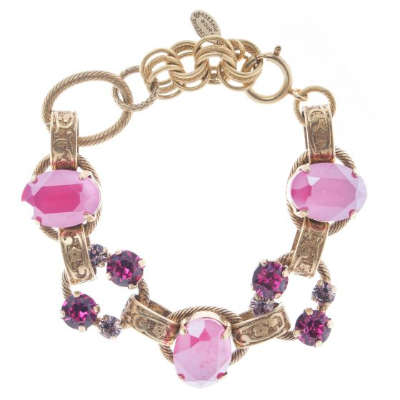 Catherine Popesco Oval Stone Ornate Bracelet with Crystals - Peony Pink