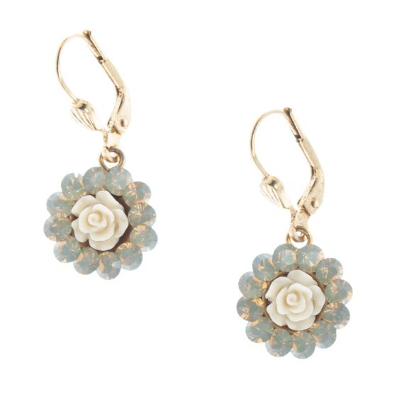 Catherine Popesco Small Round Crystal Rose Earrings - Assorted Colors