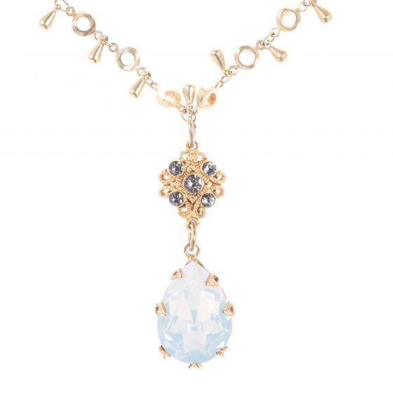 Catherine Popesco Fancy Crystal Teardrop Pendant Necklace - White Opal
