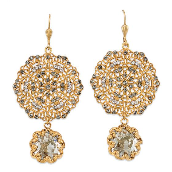 Catherine Popesco Lacy Medallion Filligree Crystal Earrings with Drop