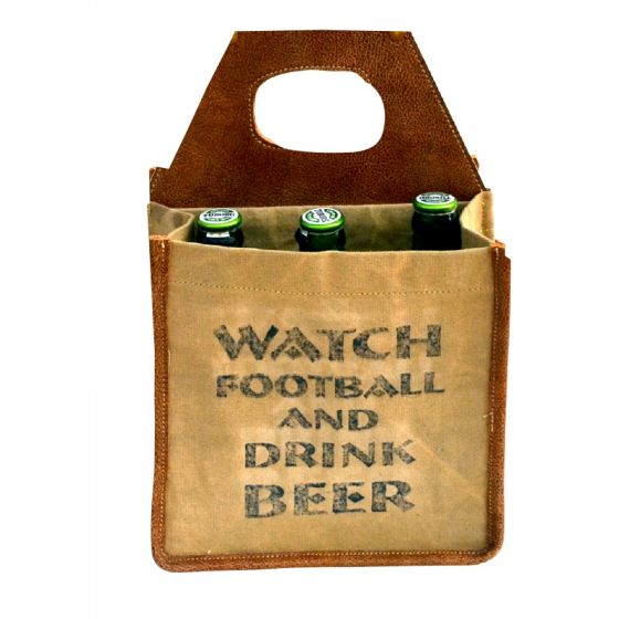 """Watch Football and Drink Beer"" Leather & Canvas Beer Bottle Caddy/Carrier by Clea Ray"