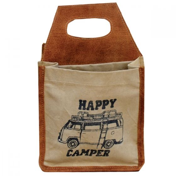 """Happy Camper"" Leather & Canvas Beer Bottle Caddy/Carrier by Clea Ray"