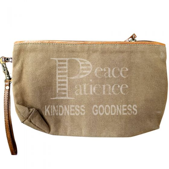 """Peace Patience Kindness Goodness"" Leather & Canvas Bag Clutch by Clea Ray"