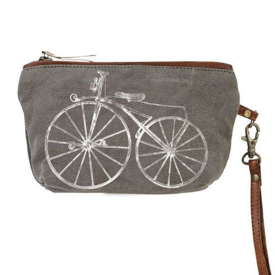 Bicycle Clutch Grey & White Canvas & Leather Bag by Clea Ray