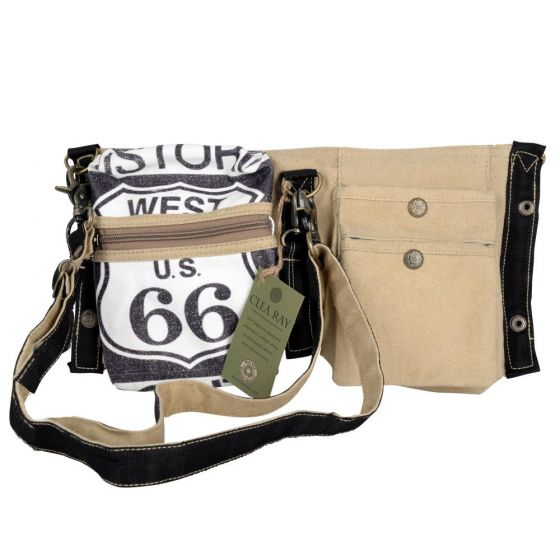 Roote 66 Double Fold Canvas Crossbody Bag by Clea Ray