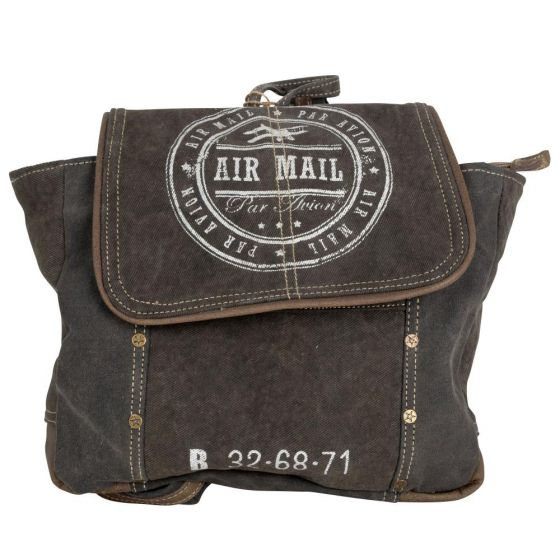 Air Mail Par Avion Canvas & Leather Backpack Purse by Clea Ray