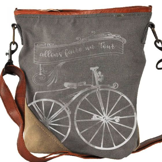 """French """"Going for a Ride"""" Canvas & Leather Crossbody Bag Purse by Clea Ray"""