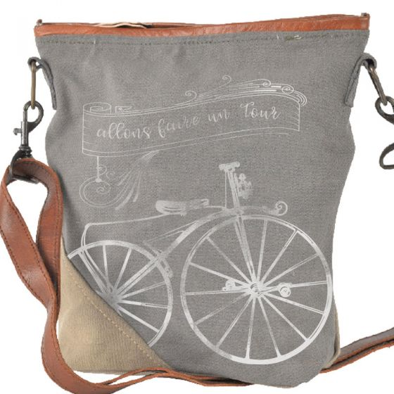 "French ""Going for a Ride"" Canvas & Leather Crossbody Bag Purse by Clea Ray"