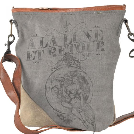 "French ""To The Moon and Back"" Canvas & Leather Crossbody Bag Purse by Clea Ray"