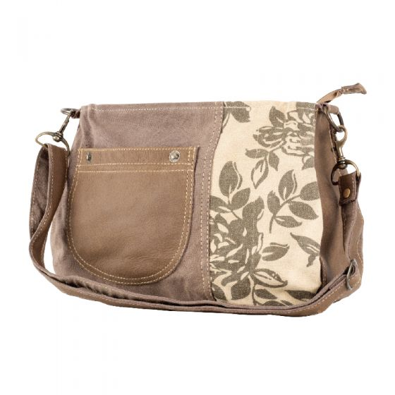 Large Floral Print Canvas & Leather Shoulder Bag Purse by Clea Ray