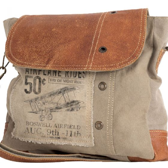 "Biplane ""Airplane Rides 50 cents"" Canvas & Leather Crossbody Bag Purse by Clea Ray"