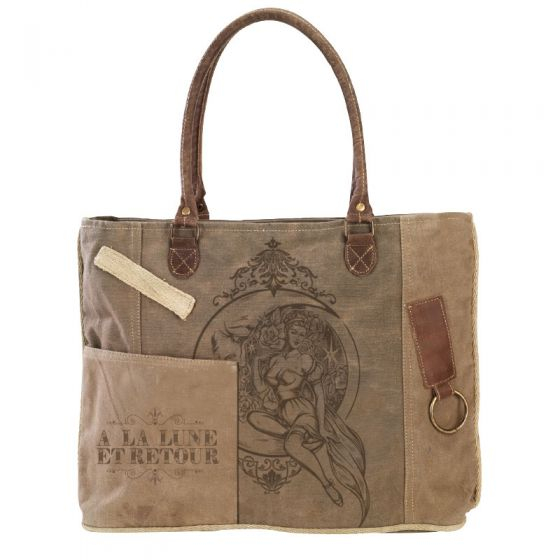 """French """"To The Moon and Back"""" Canvas & Leather Tote Bag Purse by Clea Ray"""