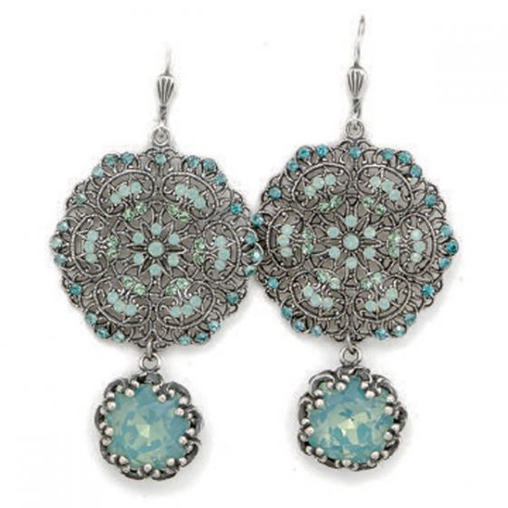 Catherine Popesco Lacy Pacific Opal and Silver Round Earrings with Drop